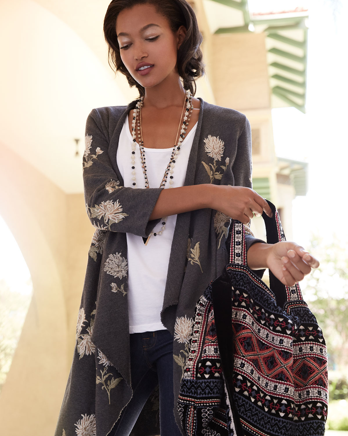 Johnny was Margarit Flower-embroidered Waist-tie Cardigan & Izzy ...