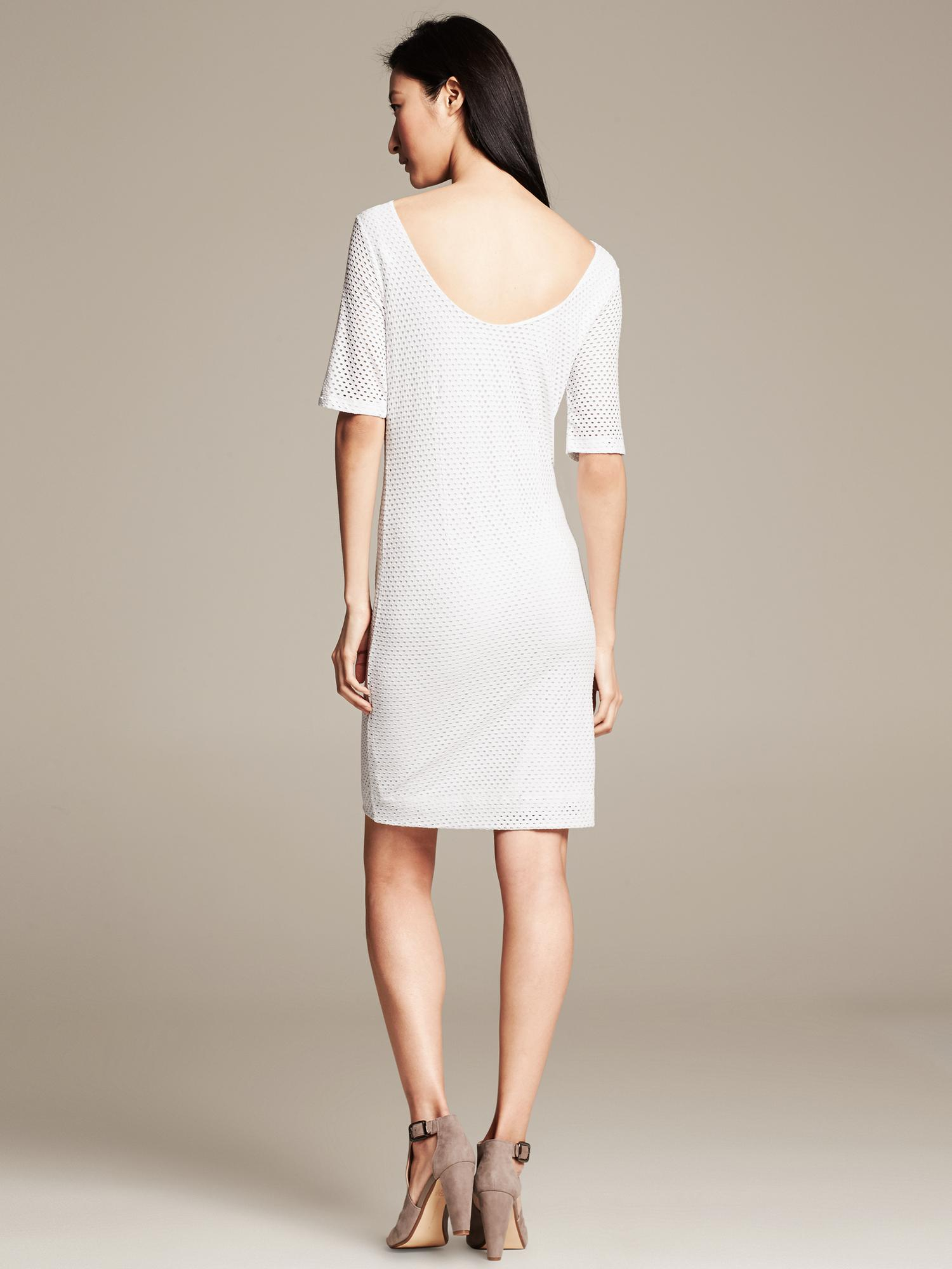 Banana Republic Perforated Dress In White Lyst