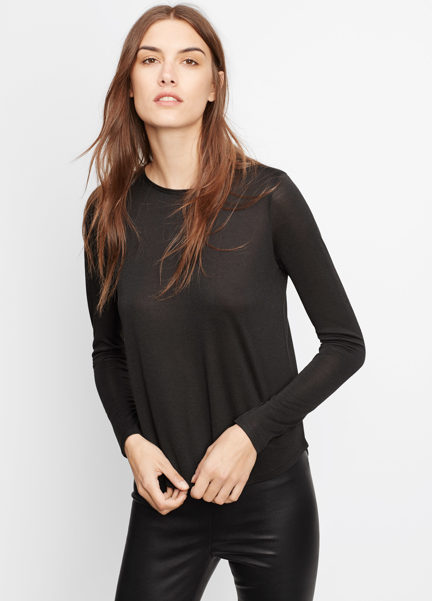 Vince shirttail long sleeve tee in black lyst for Vince tee shirts sale