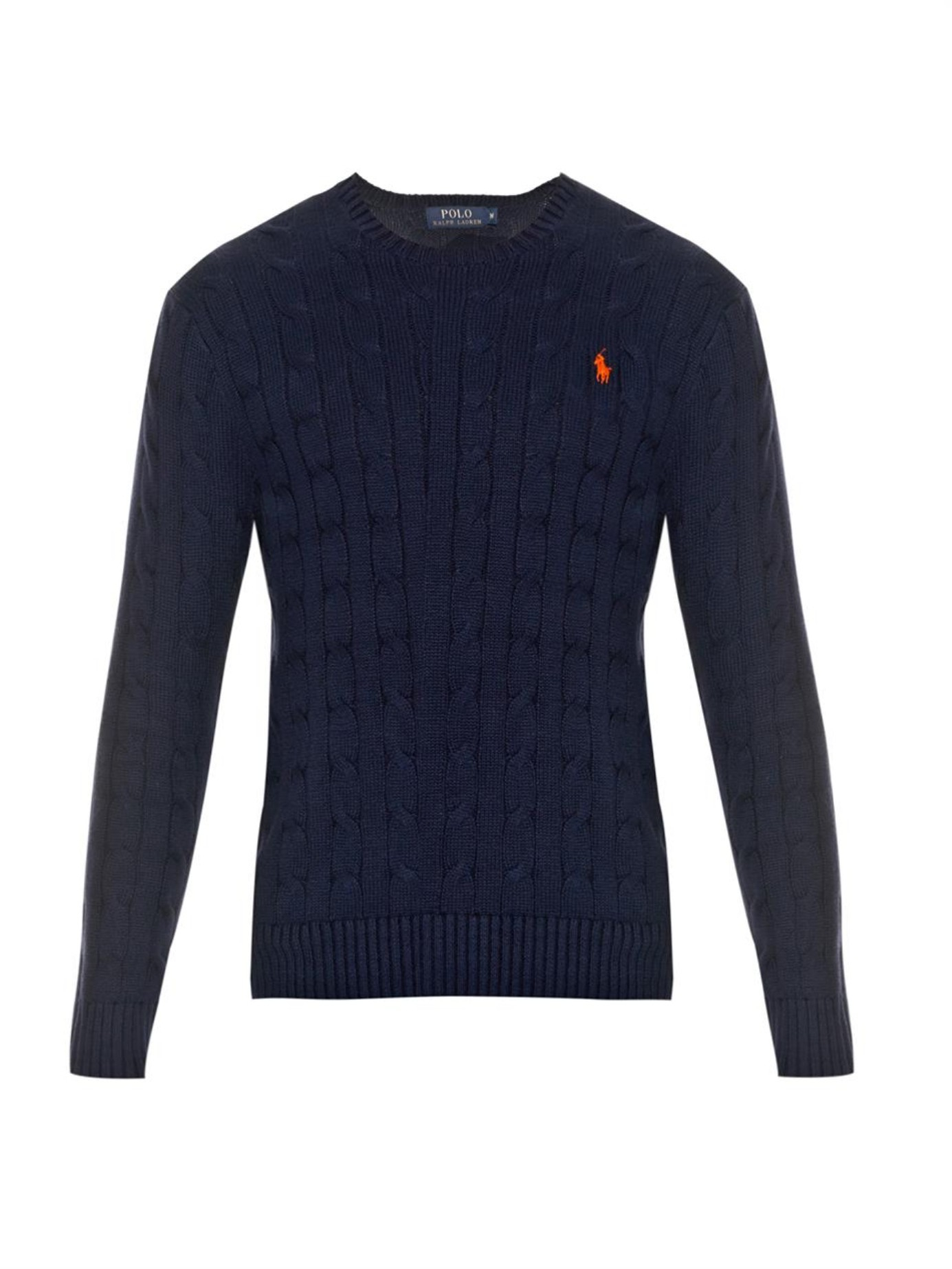 Blue Ralph Men Knit Sweater Polo Lauren Cable For Cotton DEH2IW9