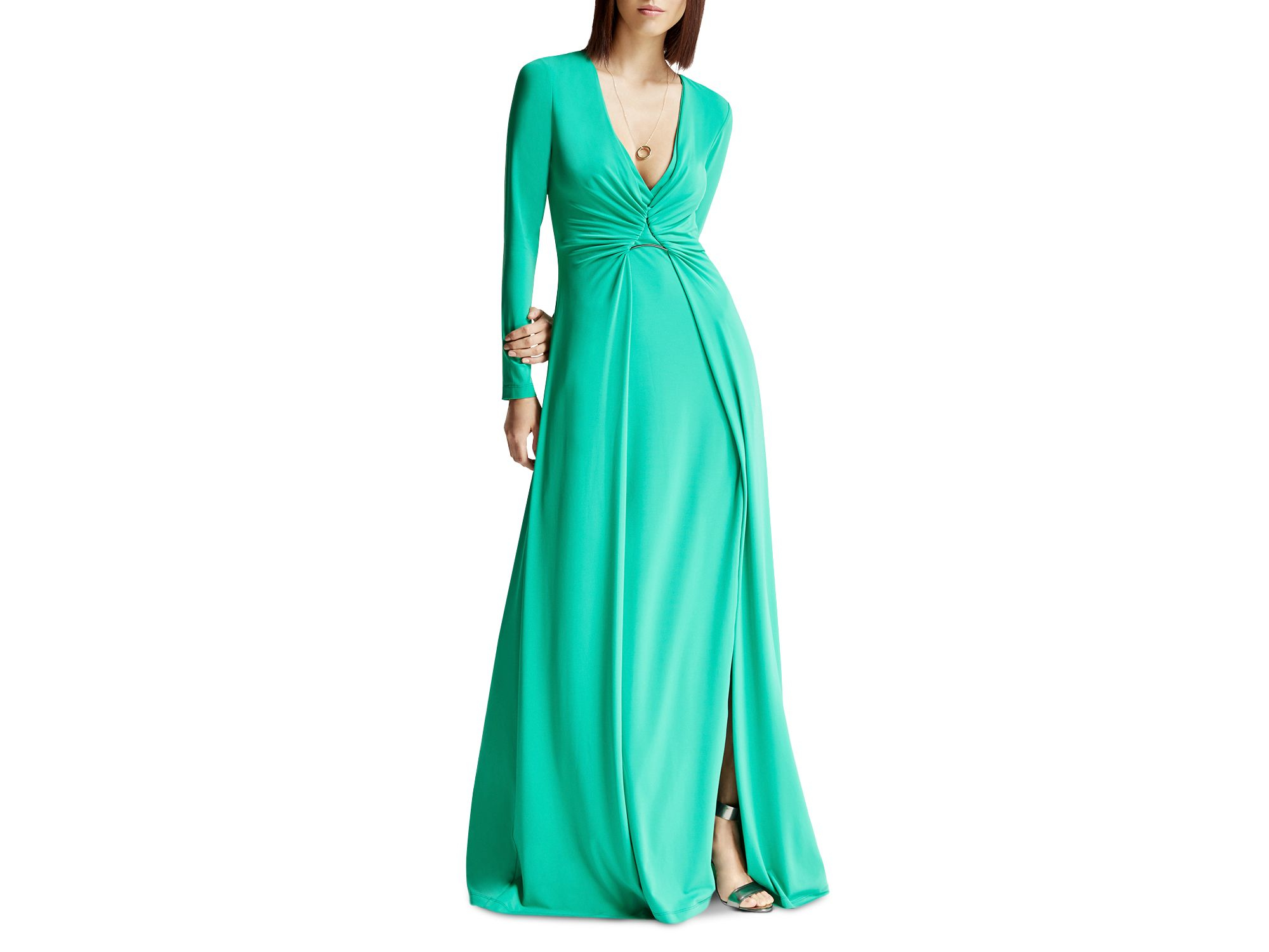 07f9a9b2cb7 Halston Draped Jersey Gown in Green - Lyst
