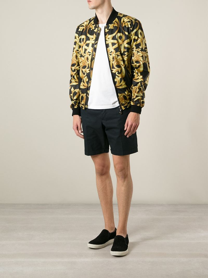 2ad4a3fdb Versace Baroque Print Shell Jacket in Black for Men - Lyst