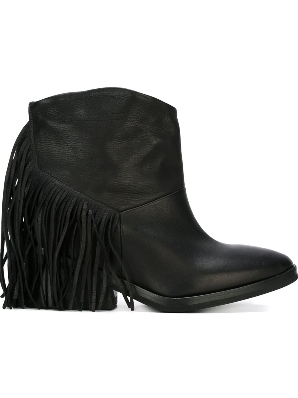 cinzia araia fringed ankle boots in black lyst