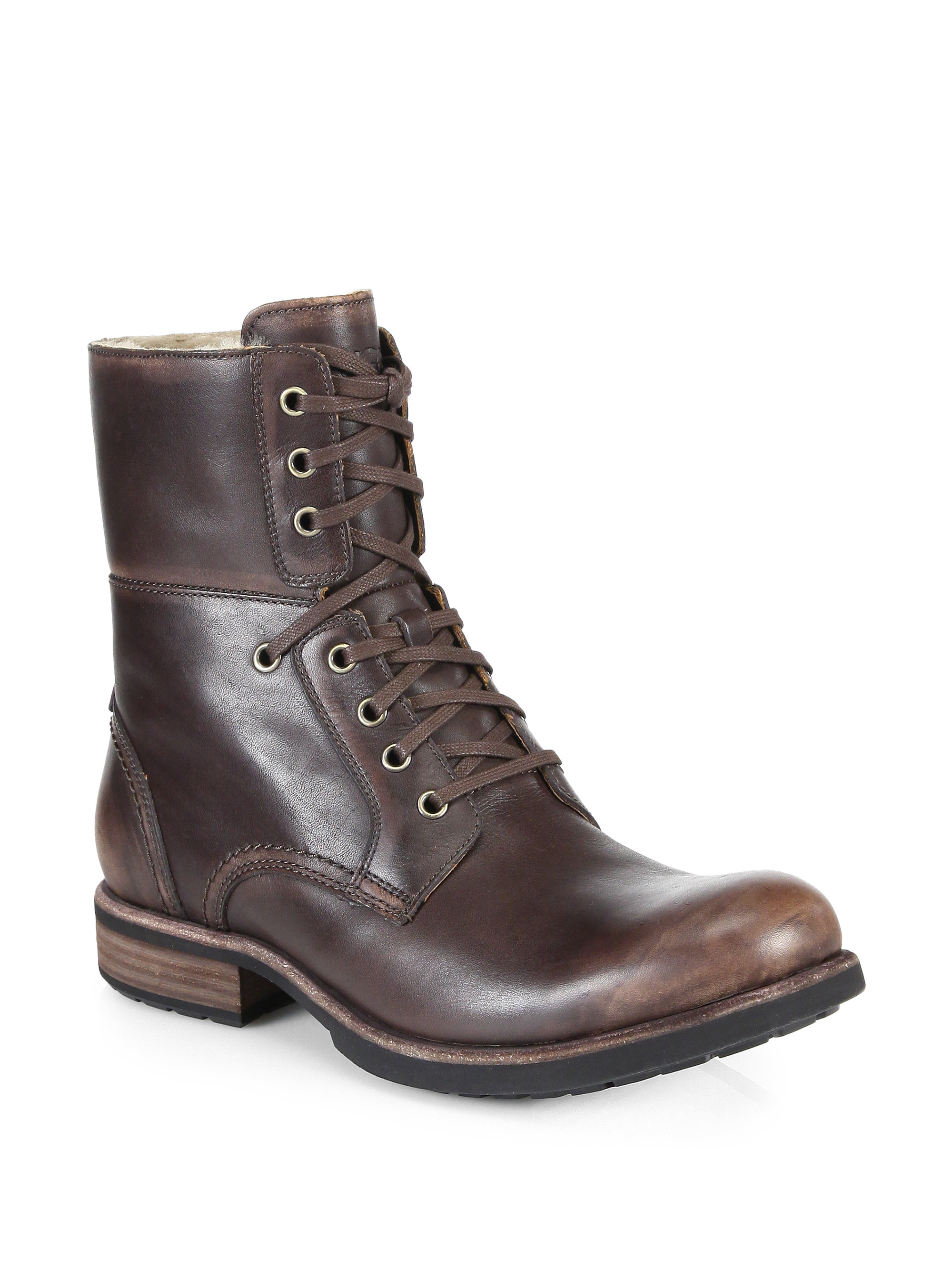 e4a386b5e59 UGG Brown Larus Leather Lace-Up Boots for men