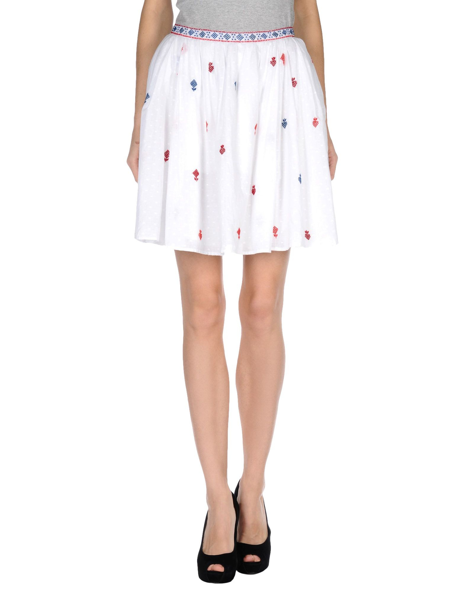 thierry colson knee length skirt in white lyst