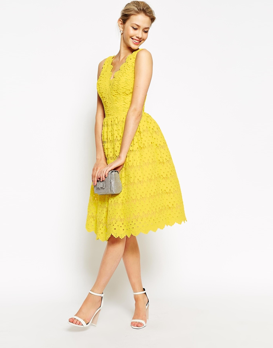 Chi Chi London Scallop Lace Full Midi Dress In Yellow Lyst