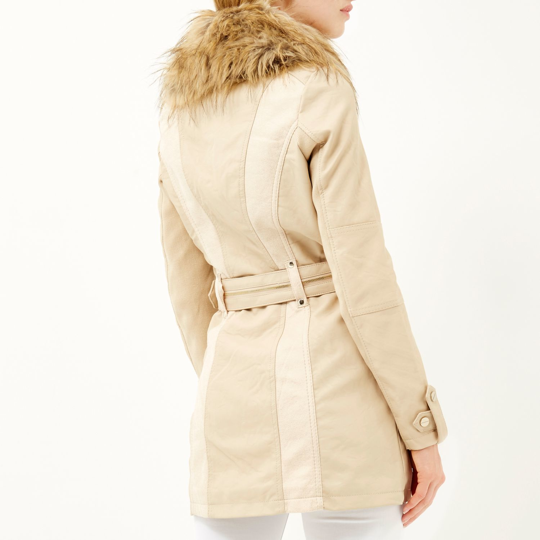 River Island Beige Faux Fur Coat