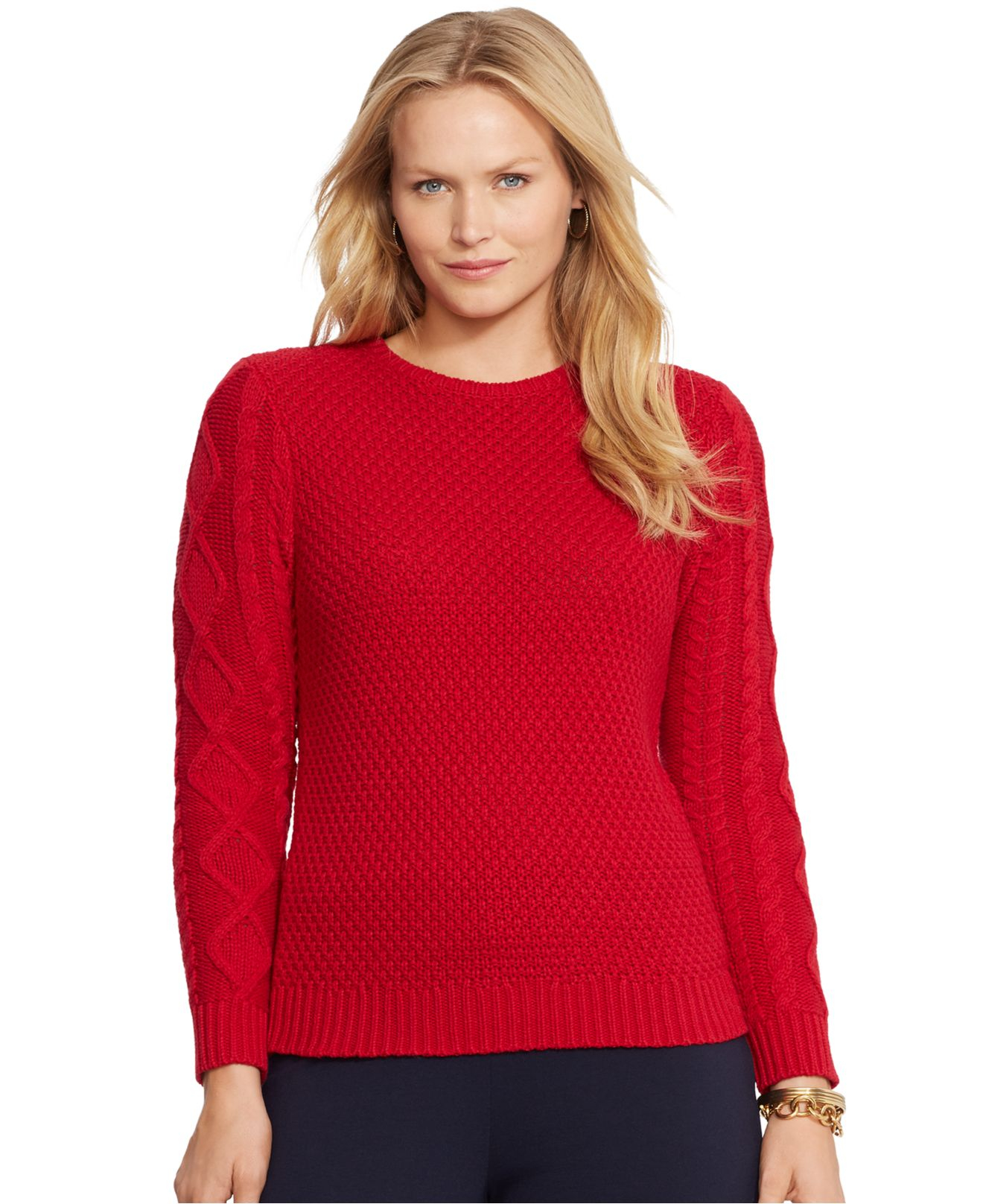 Lauren by ralph lauren Plus Size Cable-Knit Sweater in Red ...