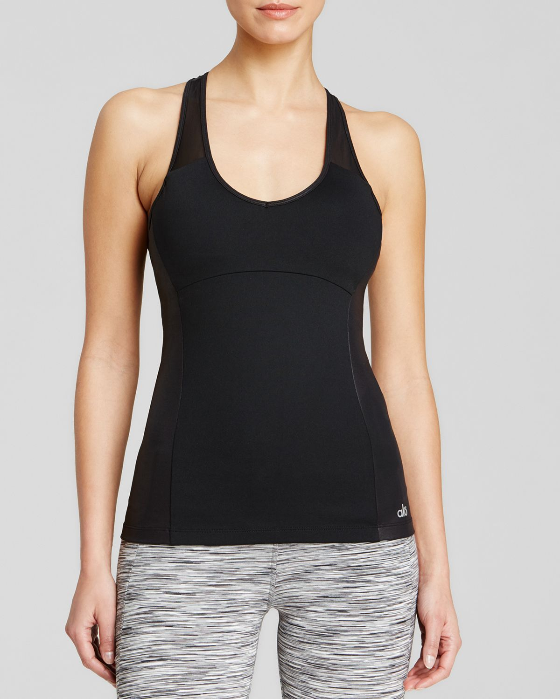 alo yoga chromatic long shelf bra tank in black black. Black Bedroom Furniture Sets. Home Design Ideas