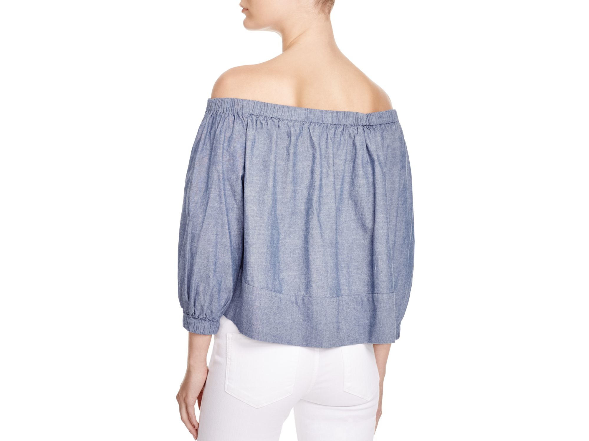 Cynthia rowley chambray off the shoulder top in blue lyst for Chambray top