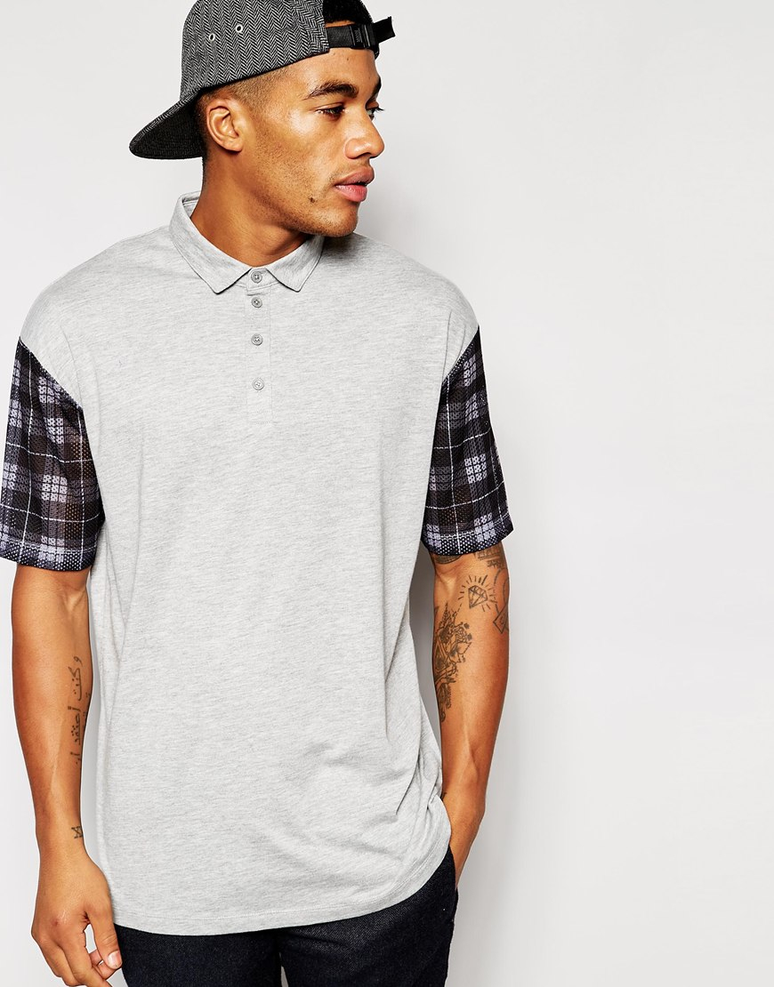 Asos Polo Shirt With Printed Mesh Sleeves In Gray For Men