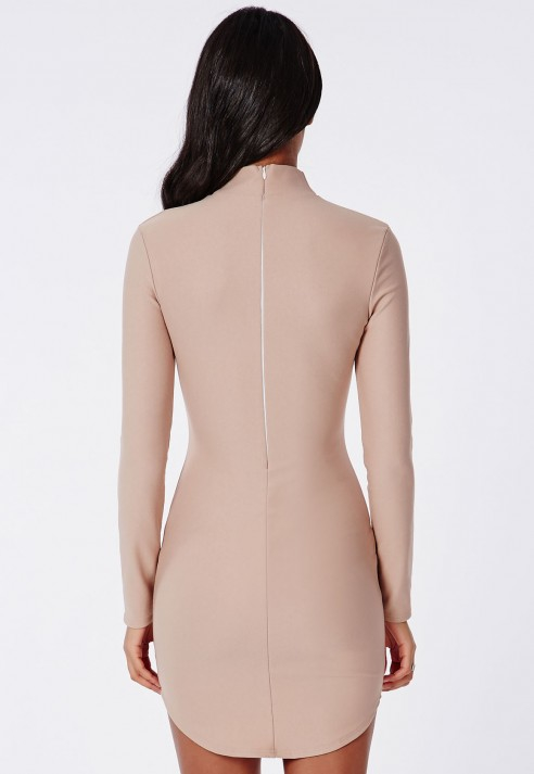 Missguided Crepe High Neck Long Sleeve Curve Hem Mini Dress Taupe in Natural