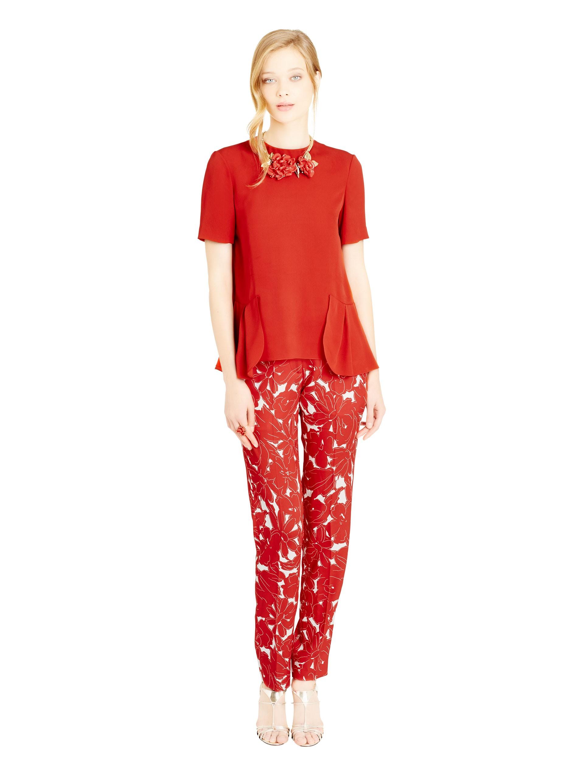 lyst oscar de la renta silk crepe georgette ruffle hem blouse in red. Black Bedroom Furniture Sets. Home Design Ideas