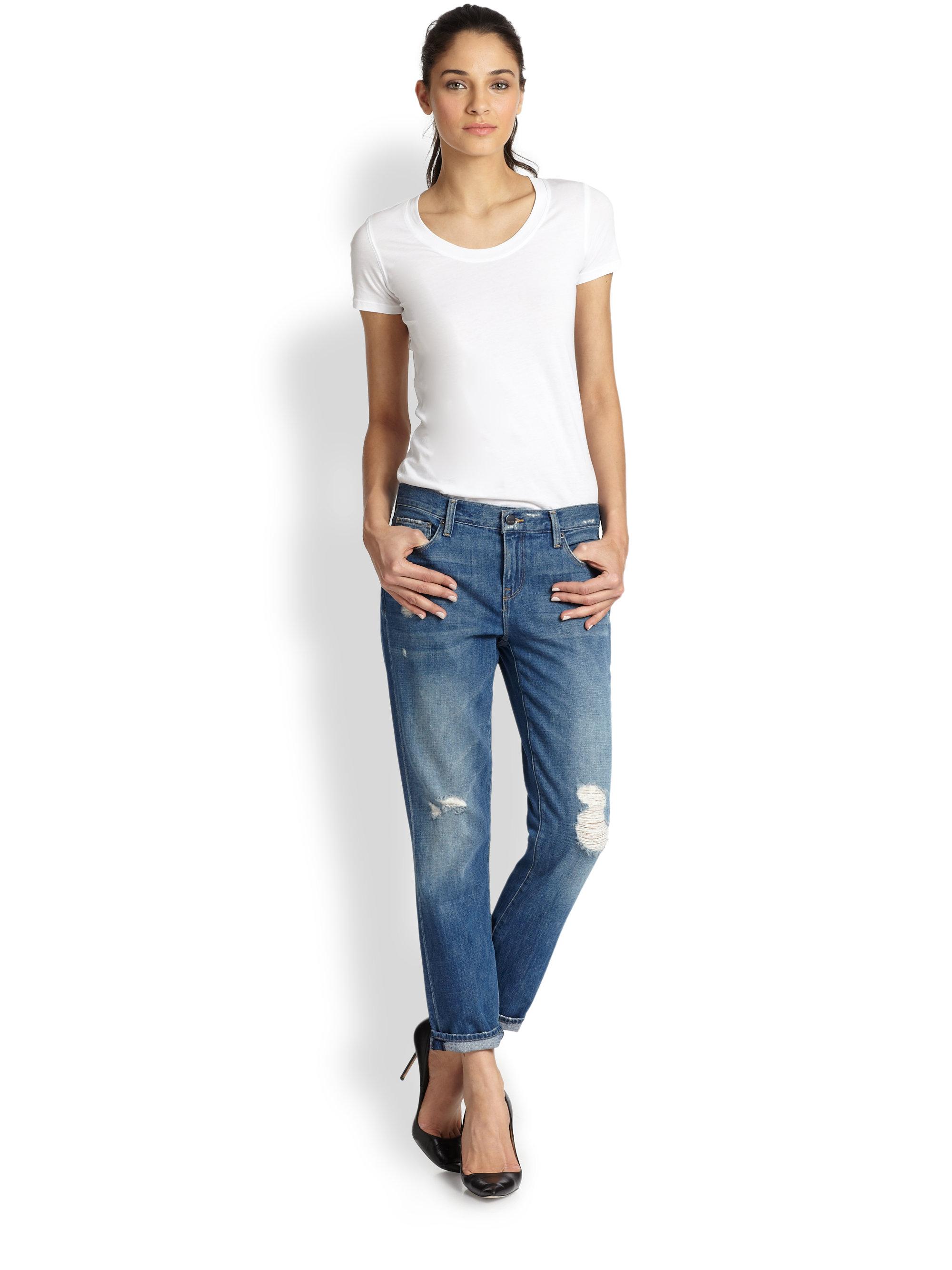 Genetic denim Alexa Slimfit Distressed Boyfriend Jeans in Blue | Lyst