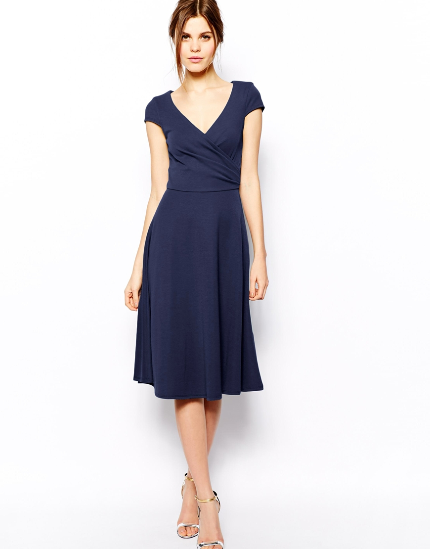 Asos Midi Skater Dress With Full Skirt And Wrap Front In