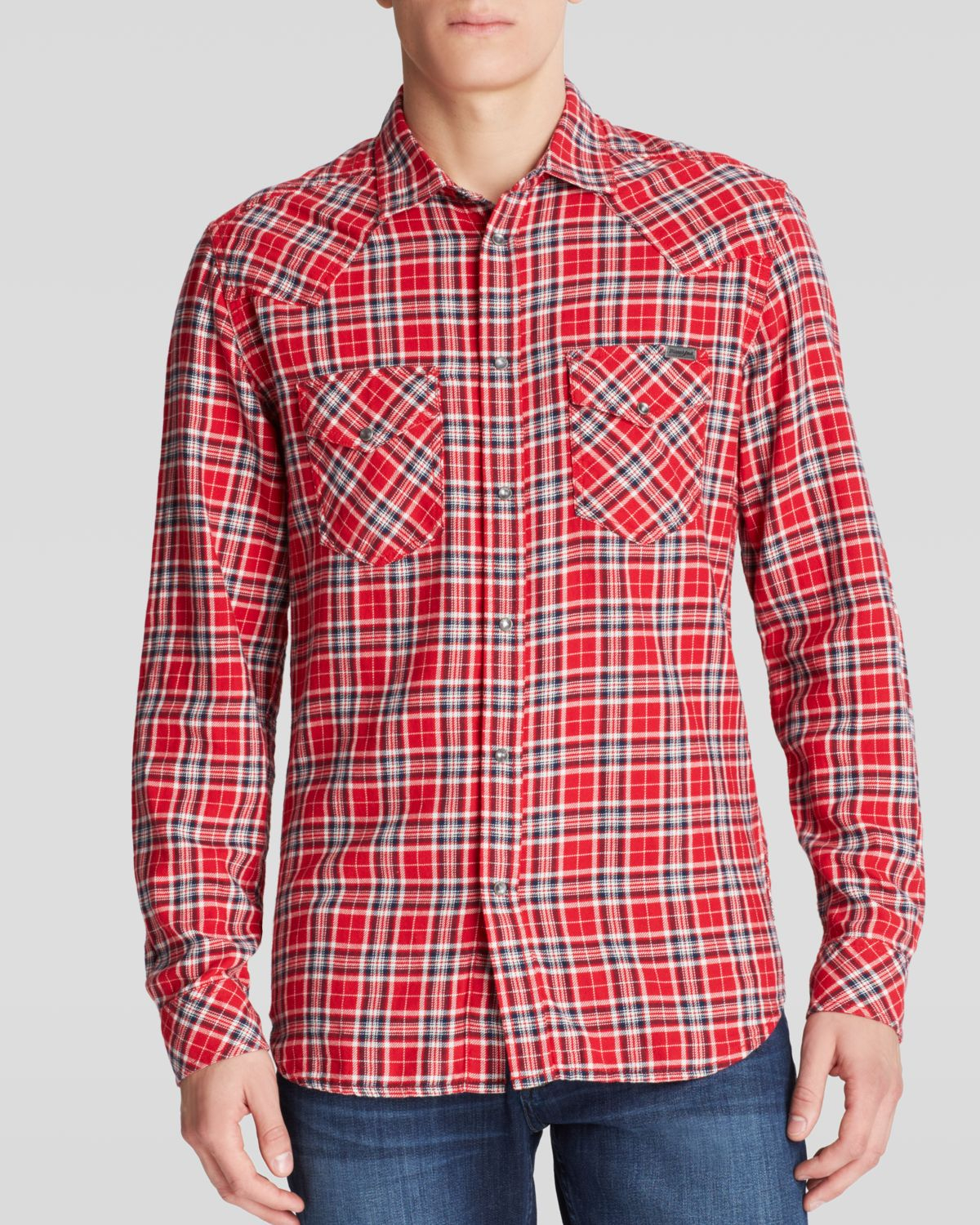 Lyst diesel western flannel sport shirt slim fit in red for Trim fit flannel shirts