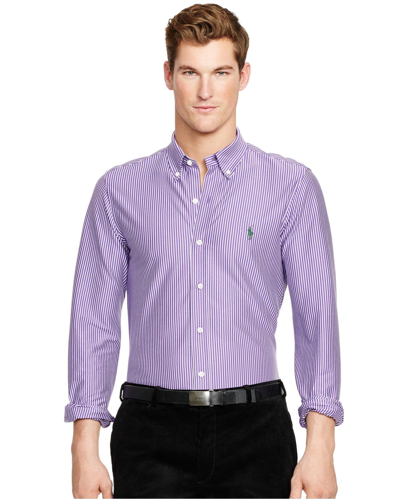 Polo ralph lauren striped knit dress shirt in purple for for Purple polo uniform shirts