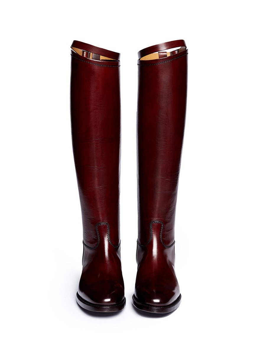 Alberto fasciani Top Strap Leather Riding Boots in Red | Lyst