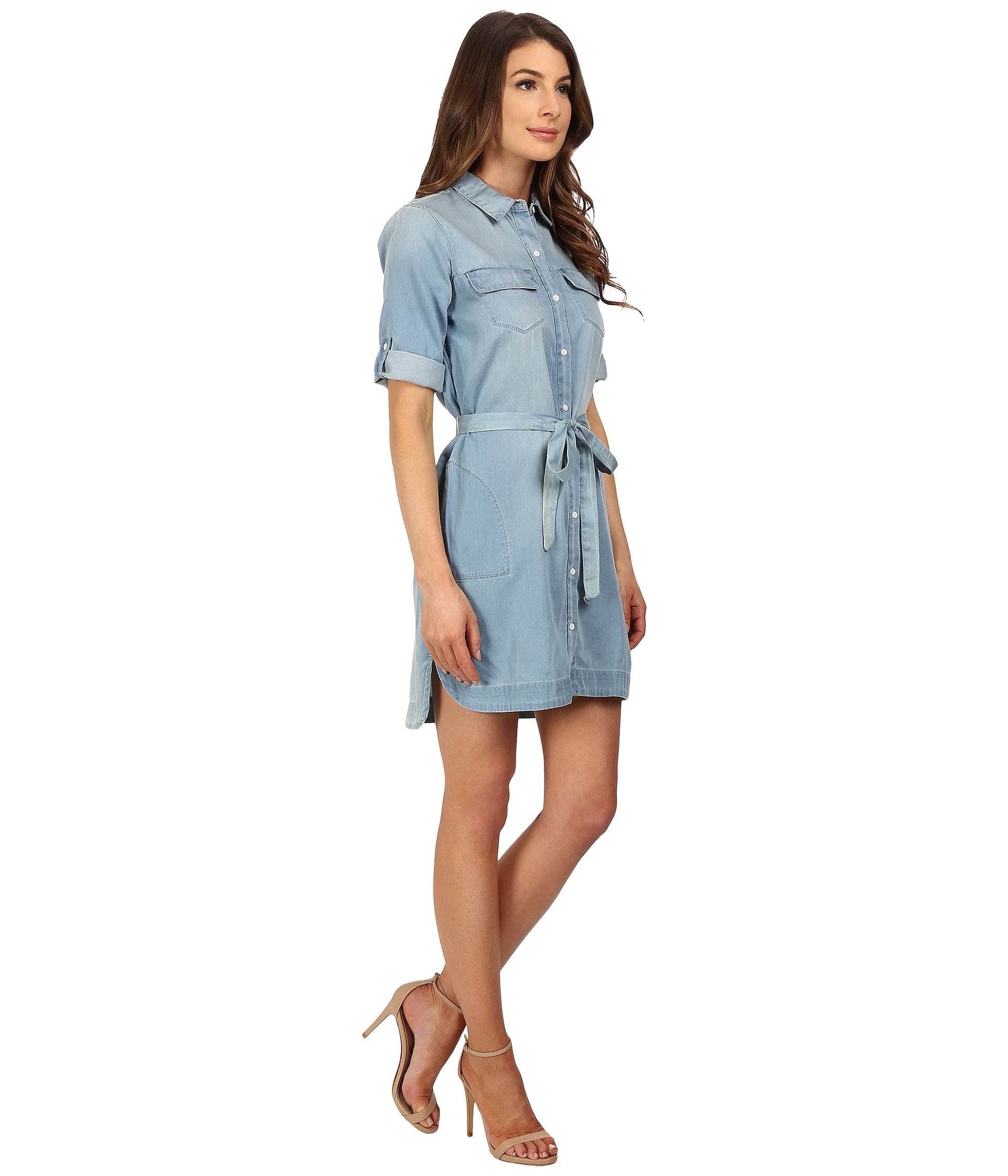 Calvin klein jeans Drawstring Denim Dress in Blue | Lyst