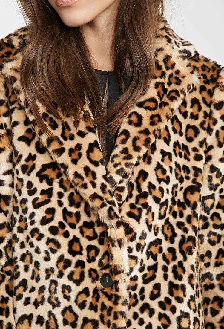 a0b691776fc7 Forever 21 Leopard Print Faux Fur Coat - Lyst