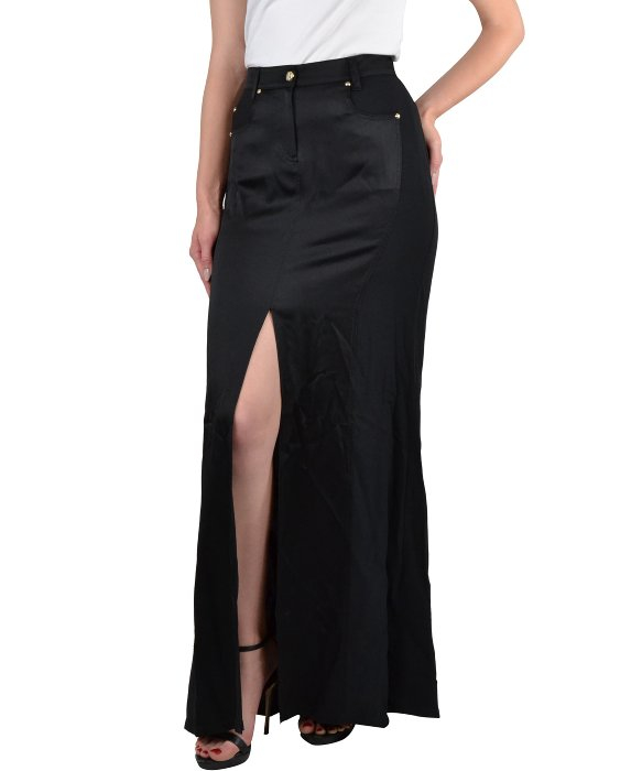 Versace jeans Long Skirt With Slit in Black