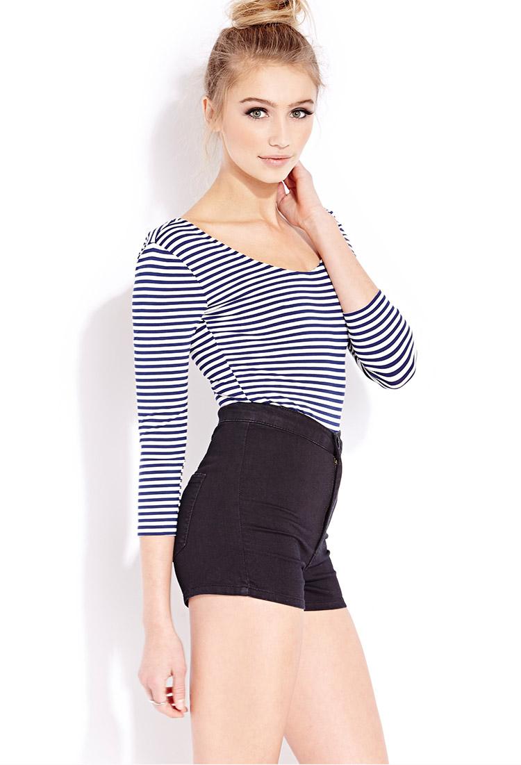 Lyst - Forever 21 Seaside Stripes Bodysuit in Natural 3c13e5b5e