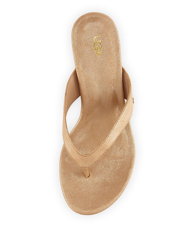Lyst Ugg Natassia Cork Thong Wedge Sandal Gold Washed In