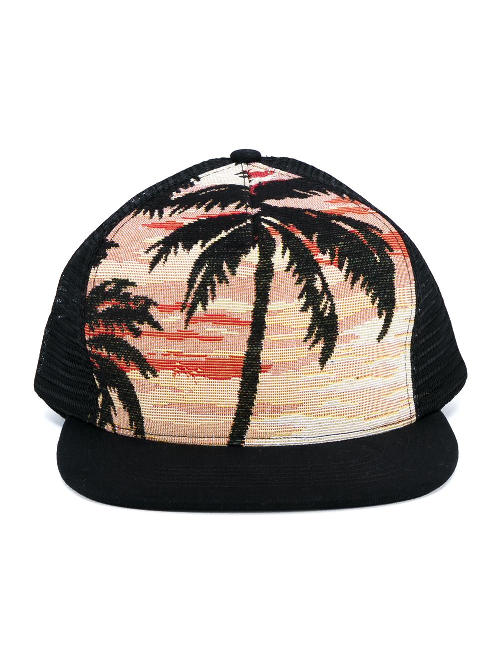 6e065741de5c51 Fresh Lyst - Saint Laurent Palm Tree Jacquard Trucker Hat in Orange for Men  OQ52