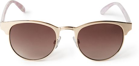 Forever 21 Futuristic Cat-Eye Sunglasses in Gold (GOLD ...