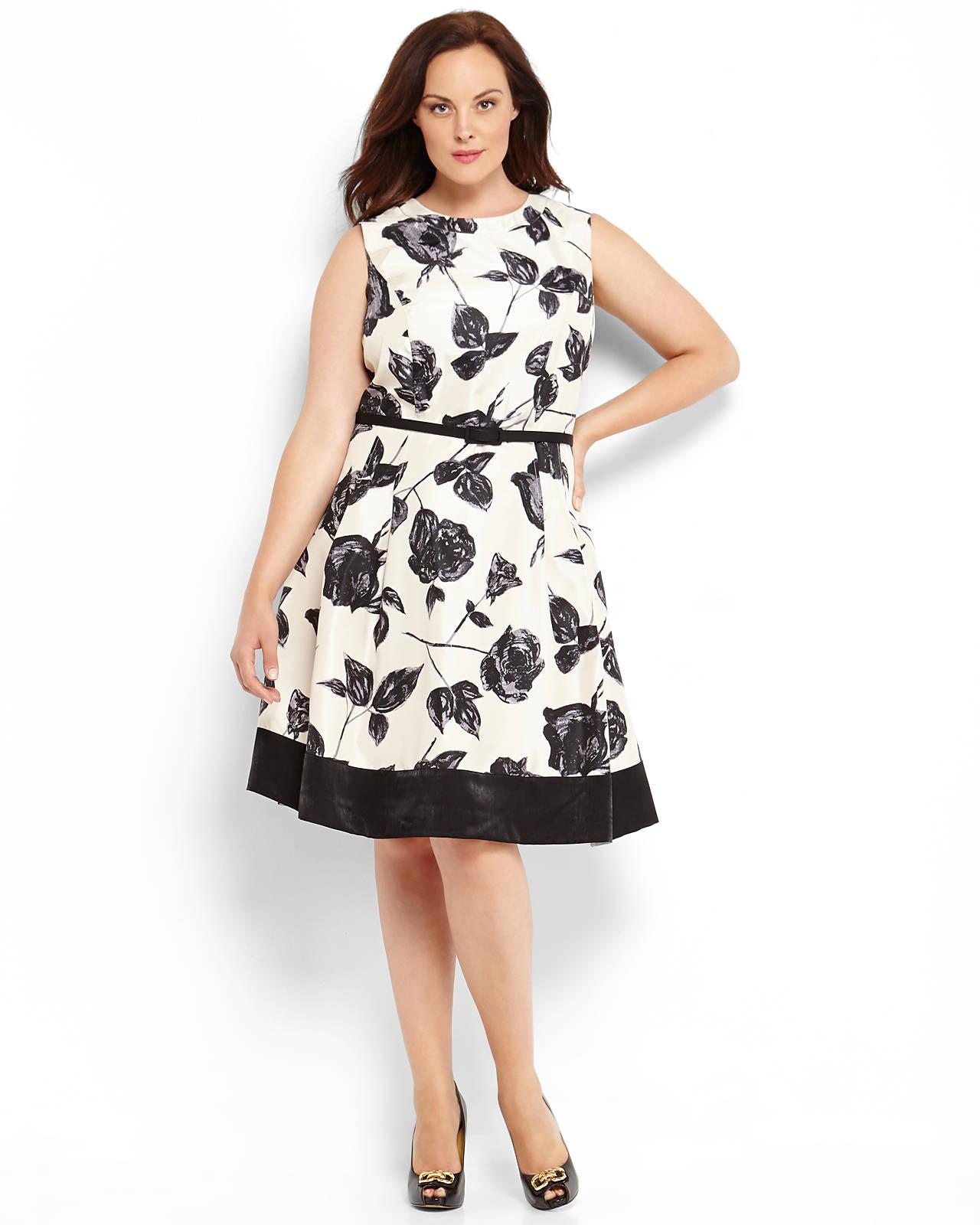 d33840ae4075b Eliza J White Print Fit Flare Dress