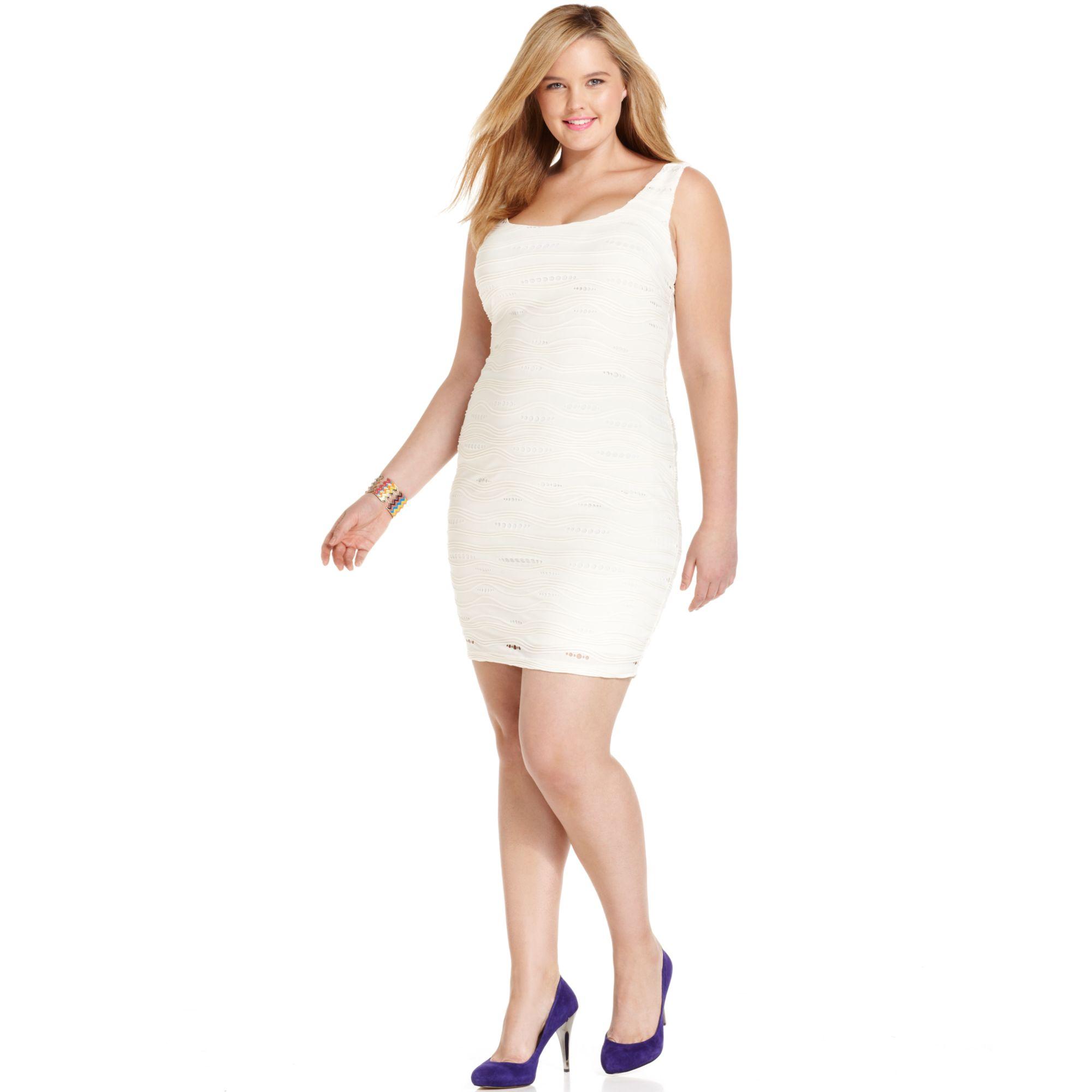 Lyst Soprano Plus Size Sleeveless Textured Bodycon Dress In White