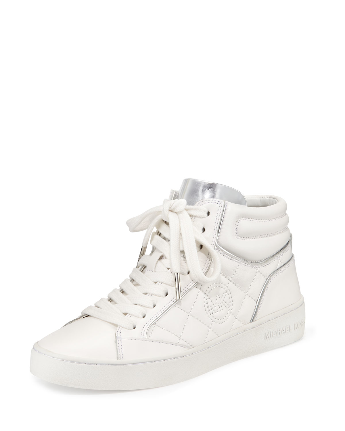 michael michael kors paige quilted high top sneaker in white lyst. Black Bedroom Furniture Sets. Home Design Ideas