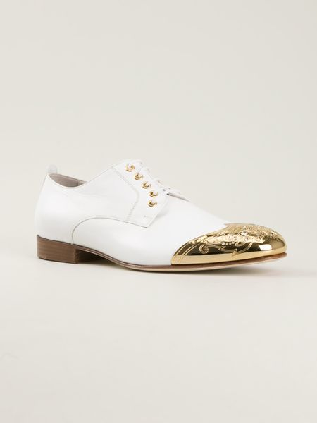 Versace Shoes For Men Gold Versace-white-gold-point-shoes