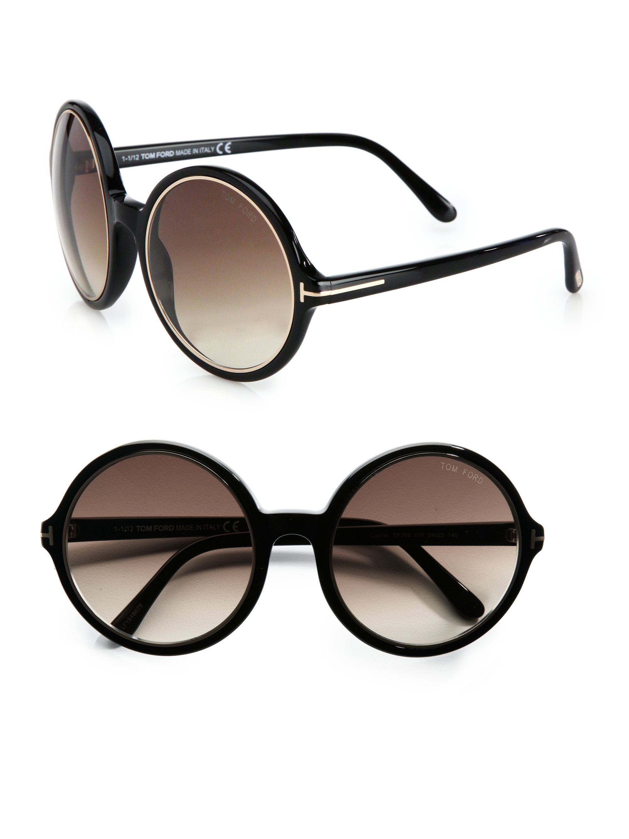 bae8e69fe116b Tom Ford Carrie Round Plastic Sunglasses in Black - Lyst