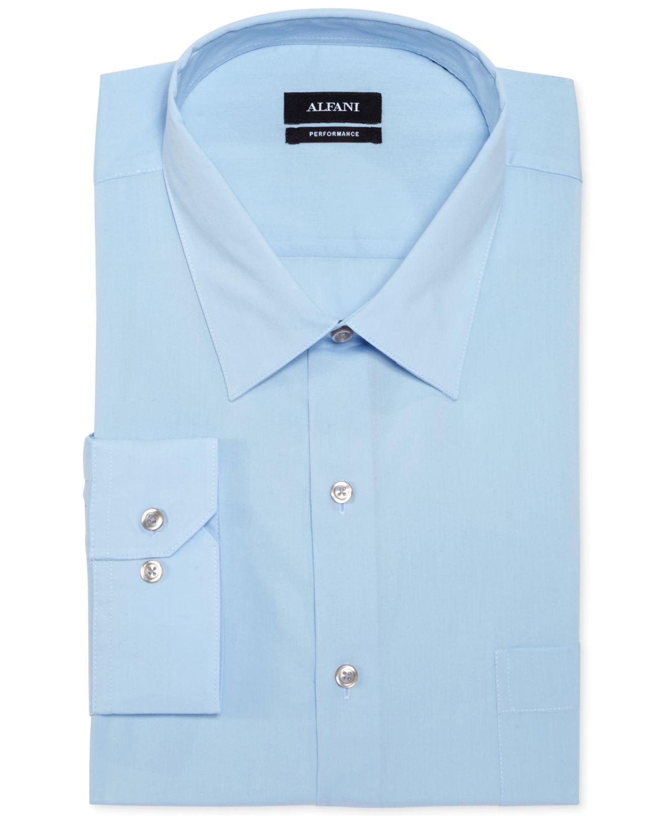 Alfani men 39 s classic regular fit performance stretch blue for Big and tall french cuff dress shirts
