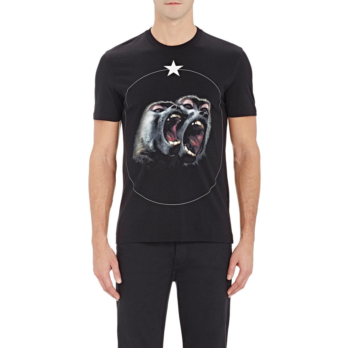 givenchy men 39 s monkey star t shirt in black for men lyst. Black Bedroom Furniture Sets. Home Design Ideas