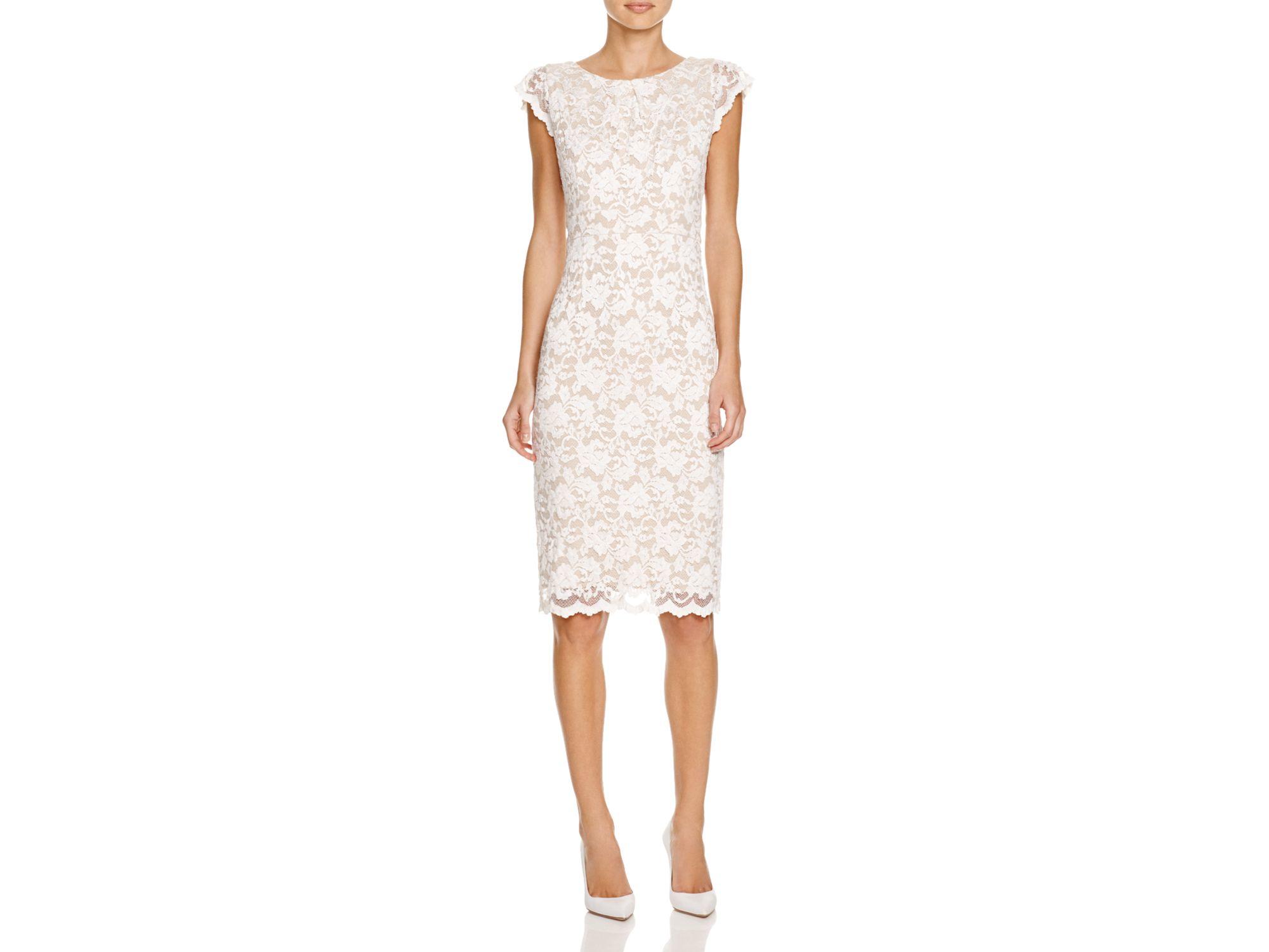 Abs by allen schwartz Cap Sleeve Lace Sheath Dress in White | Lyst