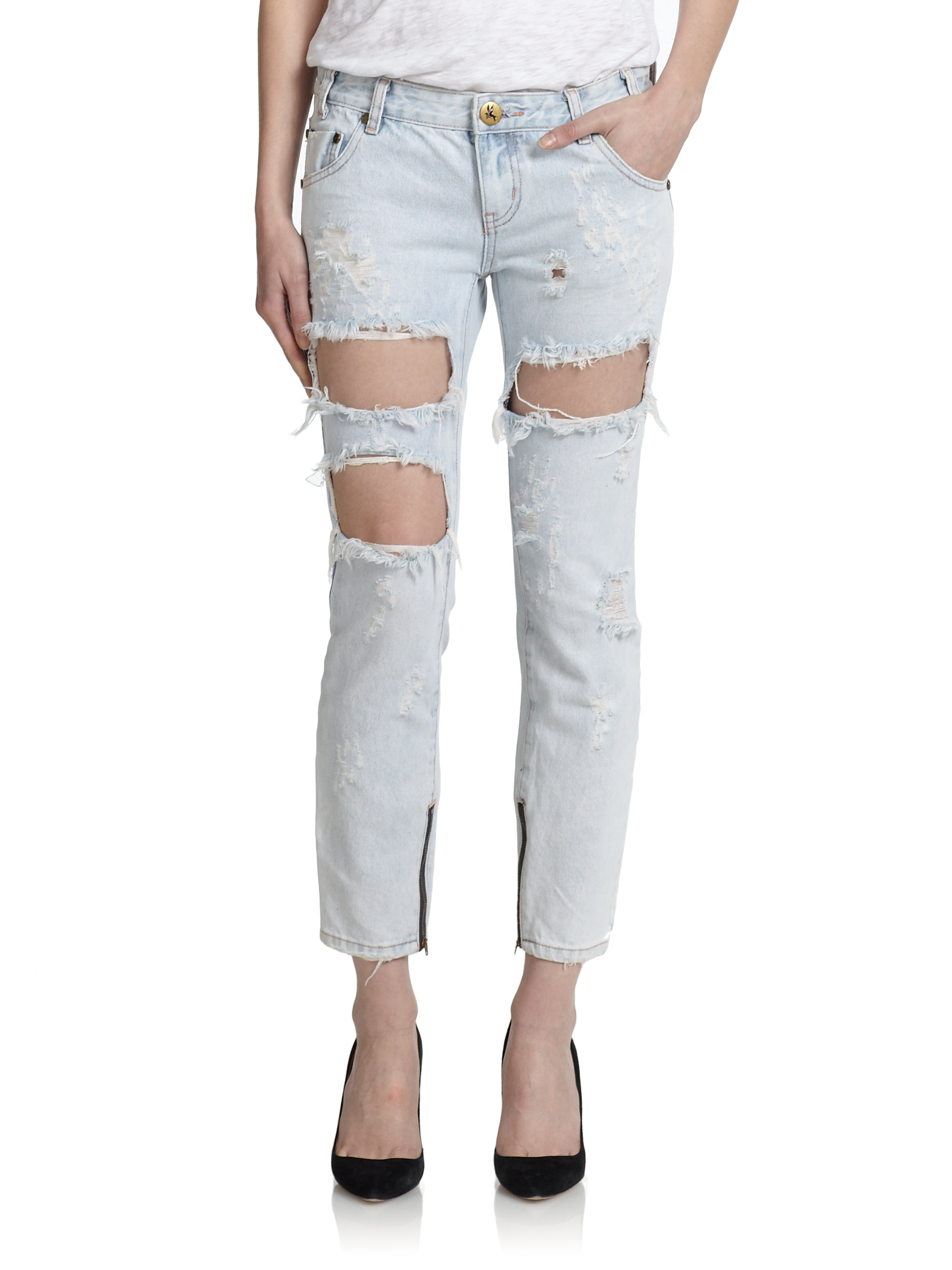 one teaspoon freebird distressed ankle zip skinny jeans in blue lyst. Black Bedroom Furniture Sets. Home Design Ideas
