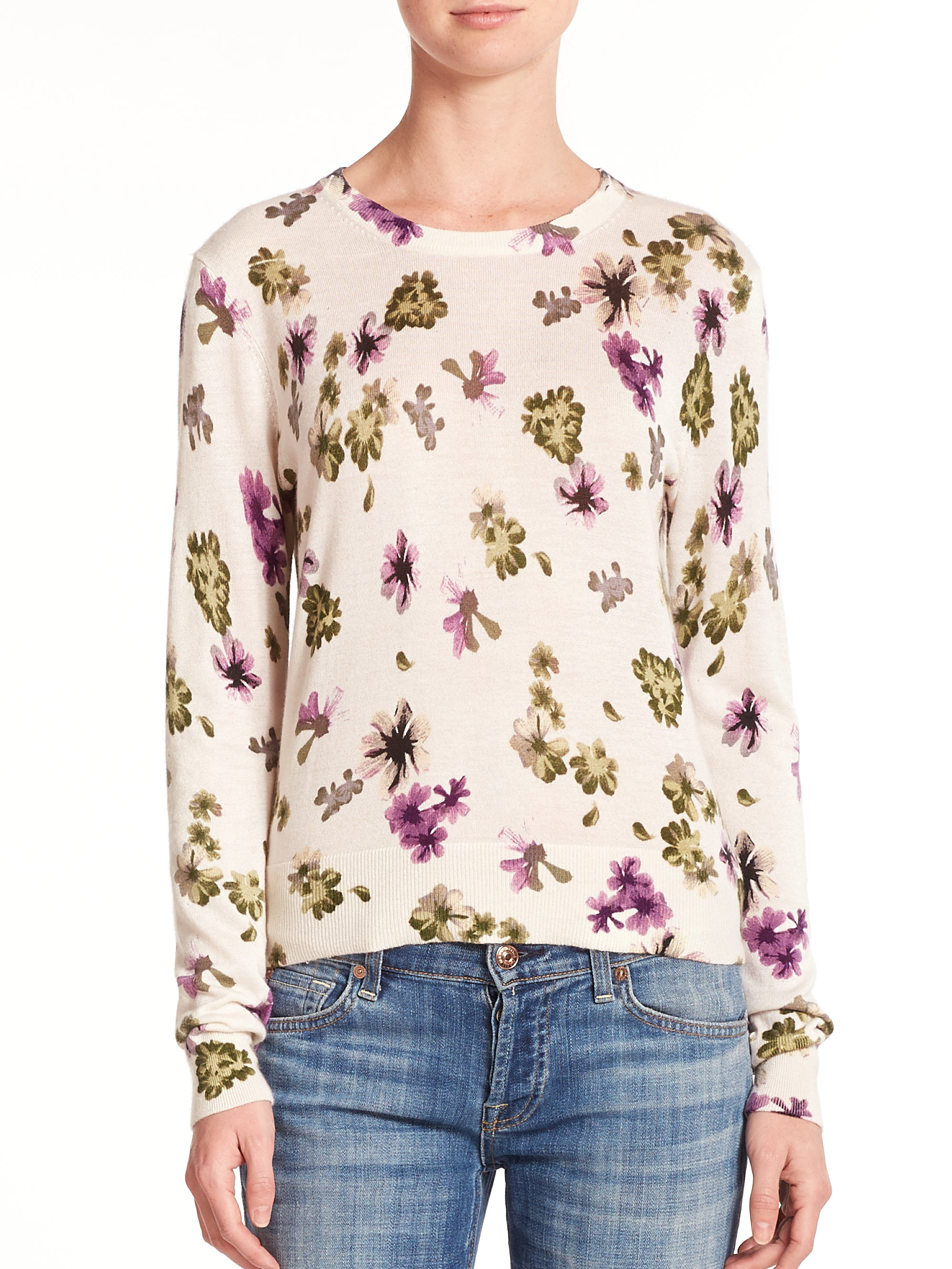 Equipment Sloane Silk & Cashmere Floral-print Sweater in White | Lyst