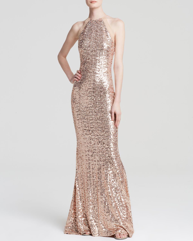 Badgley mischka Gown - Sequin in Pink - Lyst