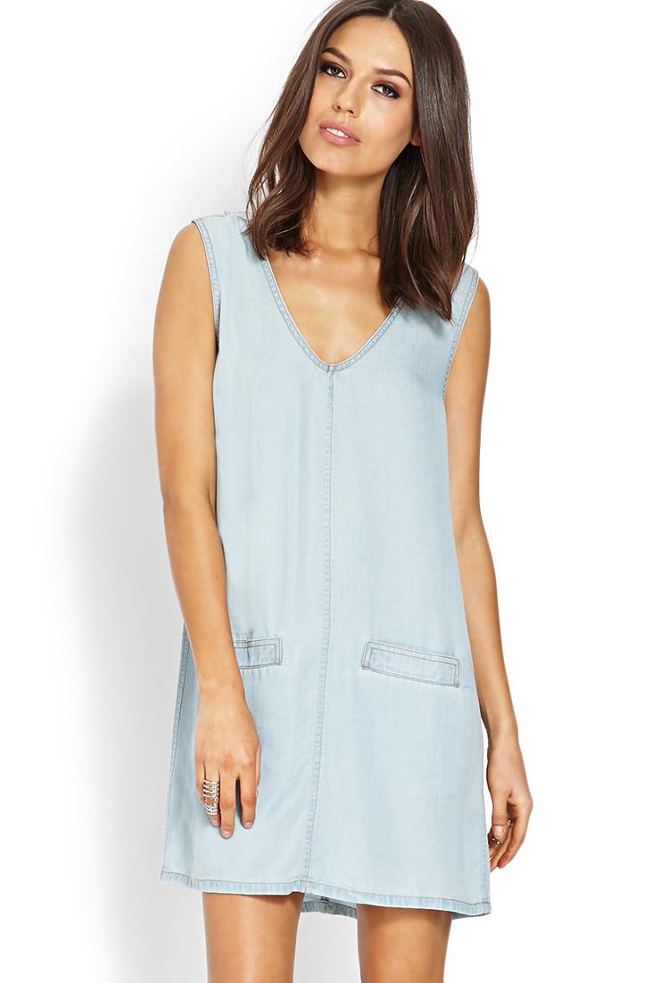 Forever 21 Life in Progress Denim Shift Dress in Blue (Light denim)