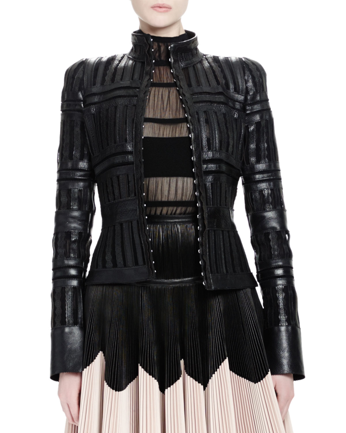 Alexander Mcqueen Laser Cut Sheer Paneled Leather Jacket