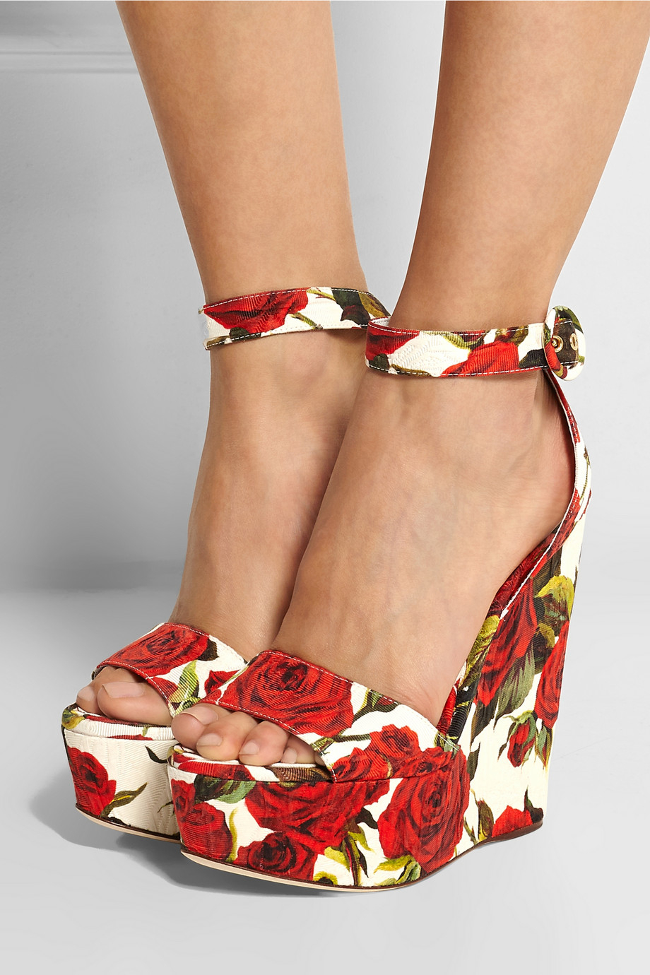 Dolce Amp Gabbana Rose Print Brocade Wedge Sandals In Red Lyst