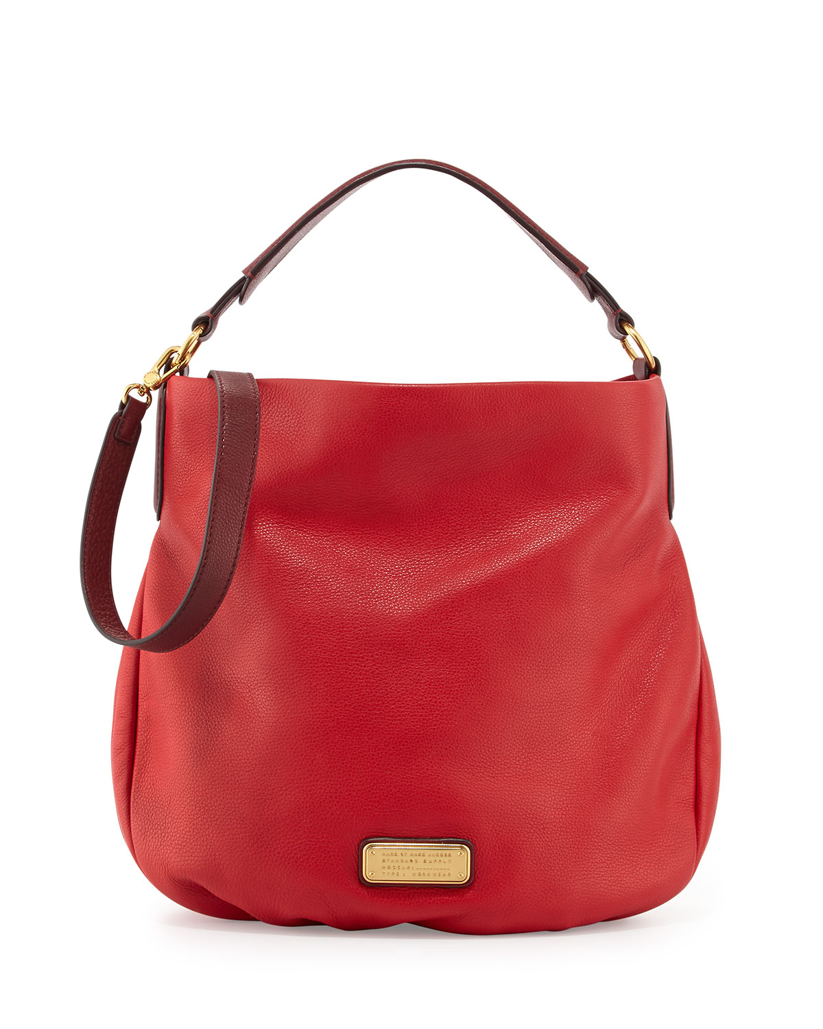 marc by marc jacobs new q hillier hobo in red rosey red lyst. Black Bedroom Furniture Sets. Home Design Ideas