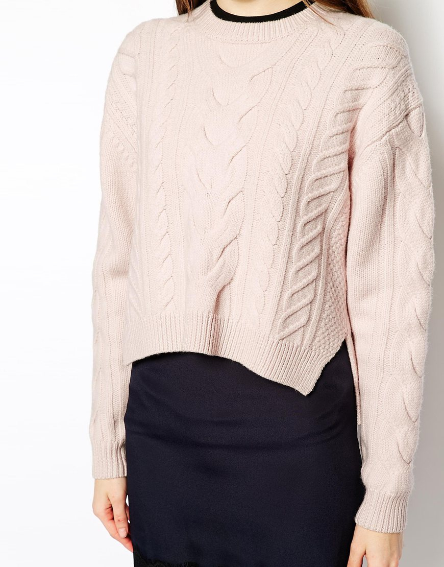Vanessa bruno athé Vanessa Bruno Athe Cable Knit Jumper In Pale ...