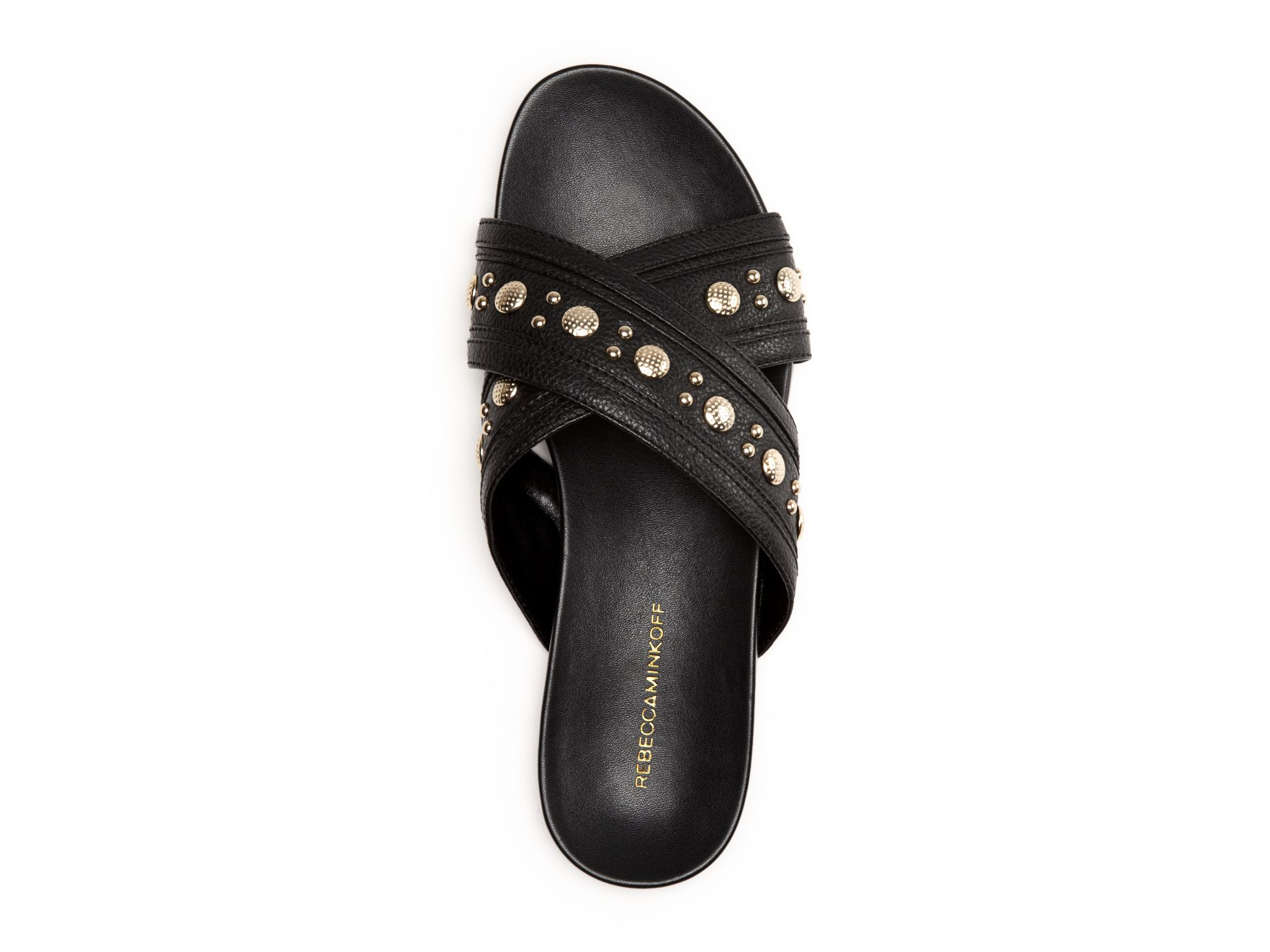 1950fcc95f3 Rebecca Minkoff Black Flat Slide Slip On Sandals - Tori Studded