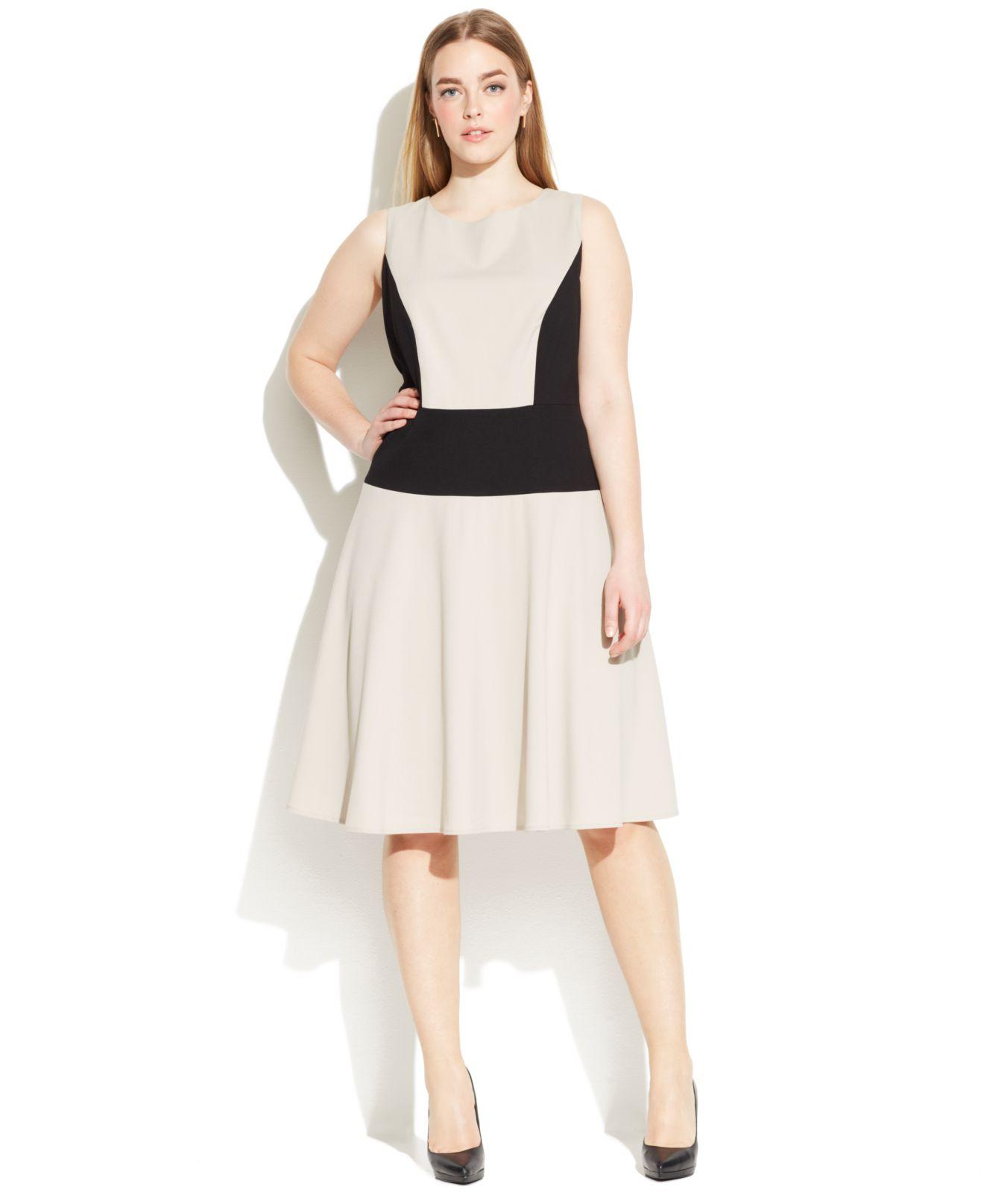 Calvin Klein Natural Plus Size Sleeveless Colorblock Dress