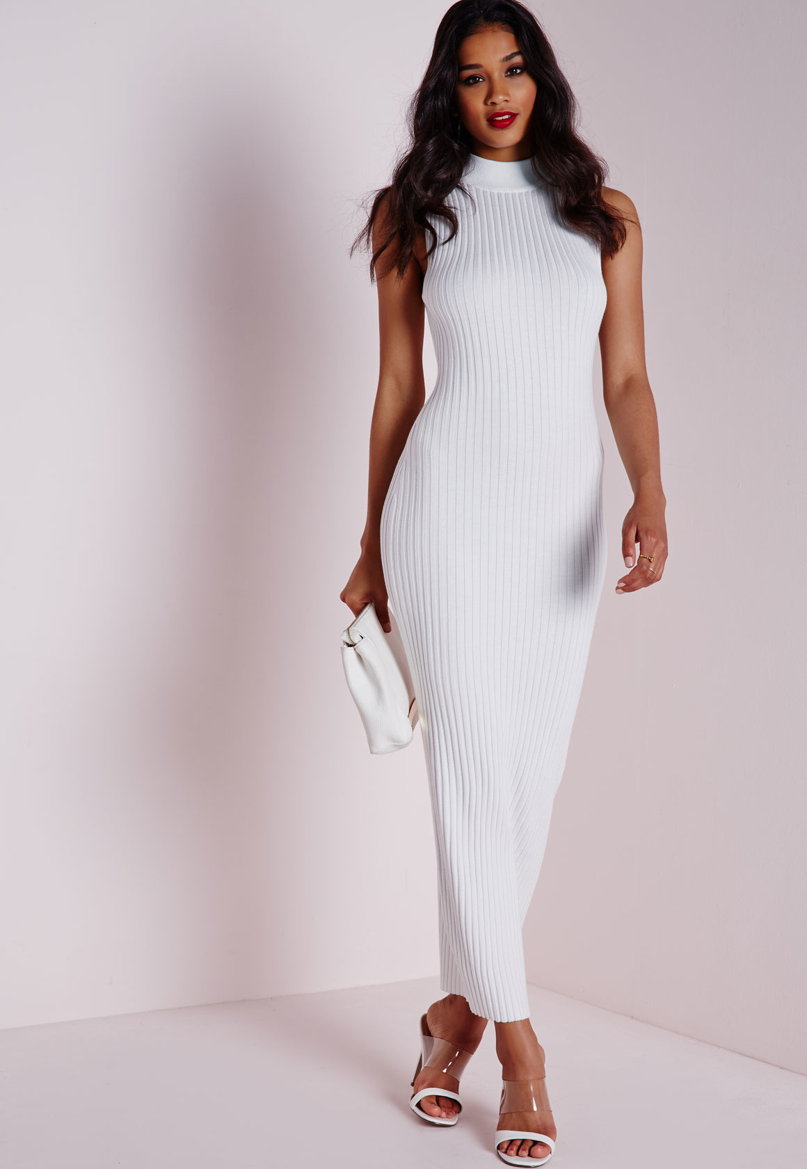 White knit maxi dress