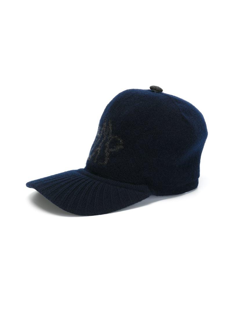 moncler knit baseball cap in blue for lyst