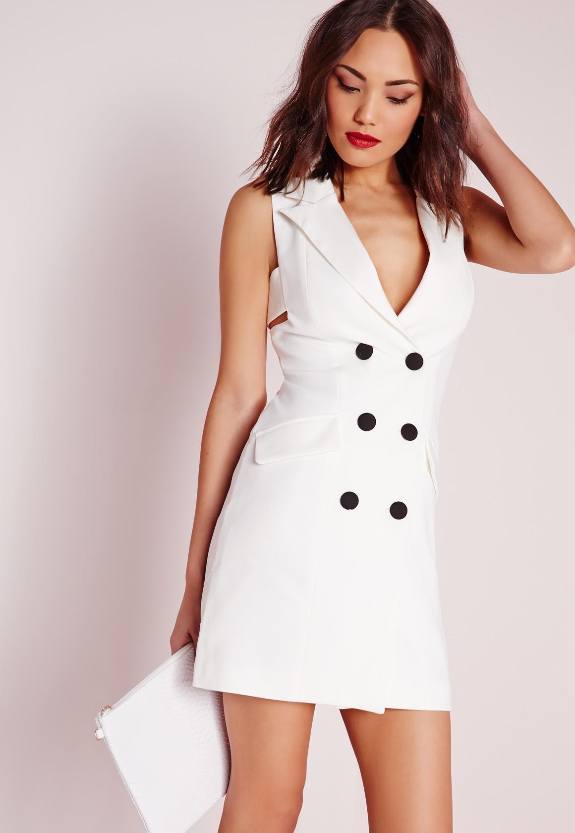 Lyst Missguided Crepe Sleeveless Blazer Dress White In White